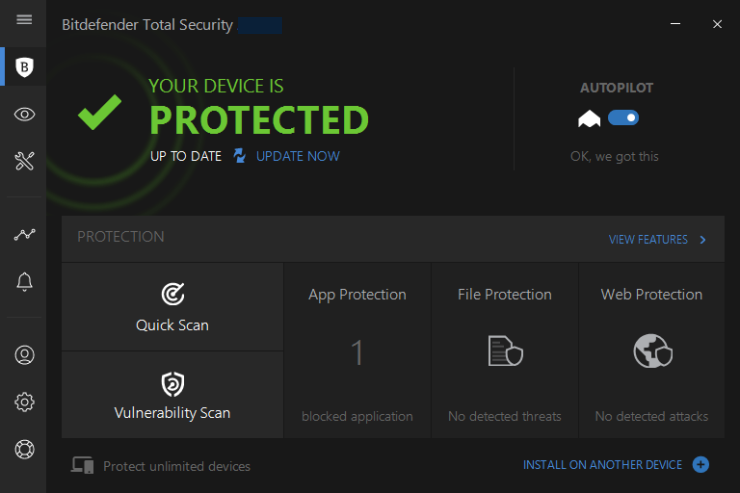 Bitdefender Total Security windows