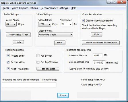 Replay Video Capture windows