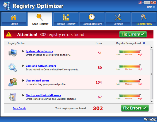 WinZip Registry Optimizer windows