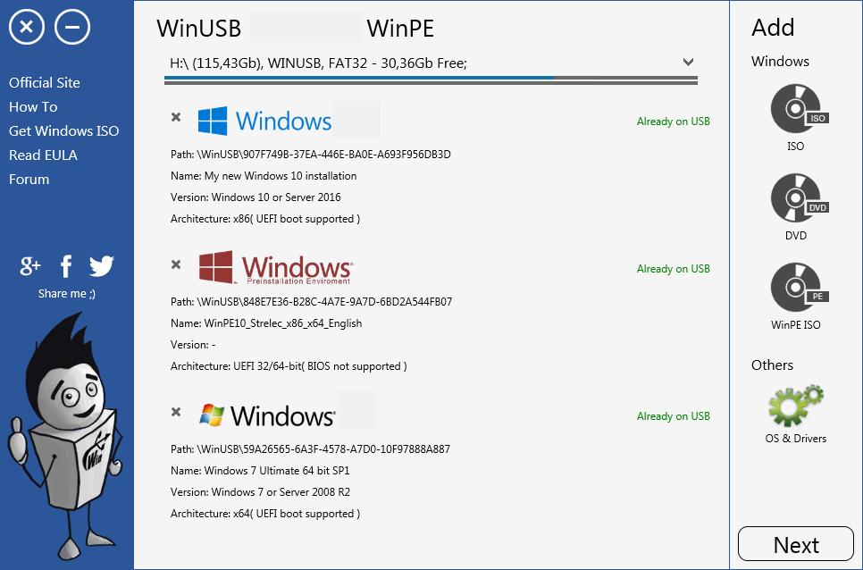 WinUSB windows