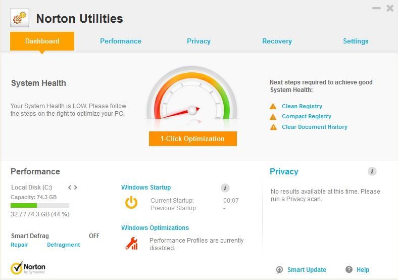 Norton Utilities windows