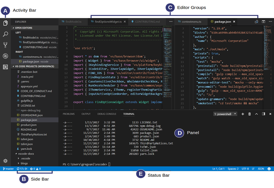 Visual Studio Code windows
