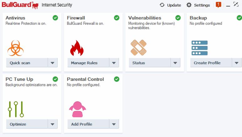 BullGuard Internet Security windows
