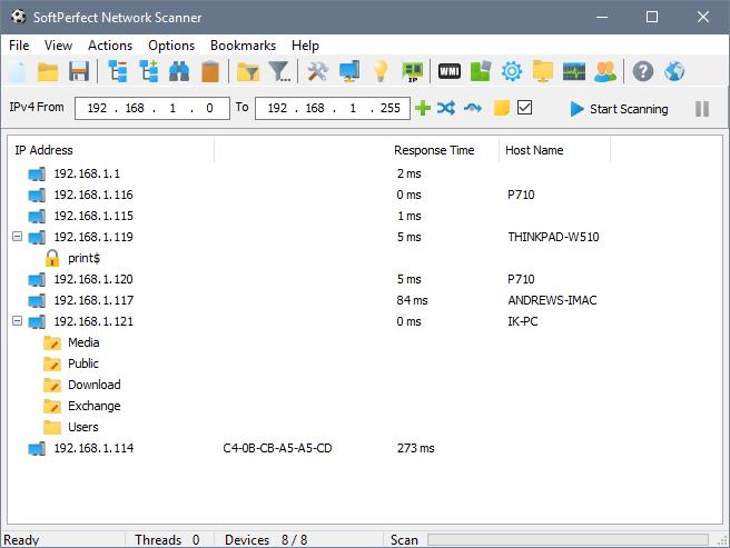 SoftPerfect Network Scanner windows