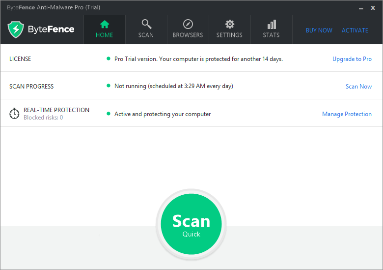 ByteFence Anti-Malware windows