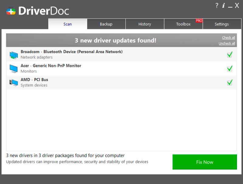 DriverDoc window