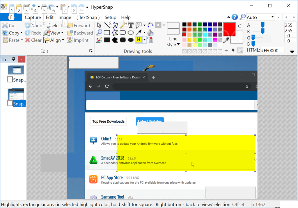 HyperSnap windows