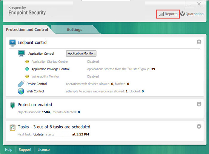 Kaspersky Endpoint Security windows