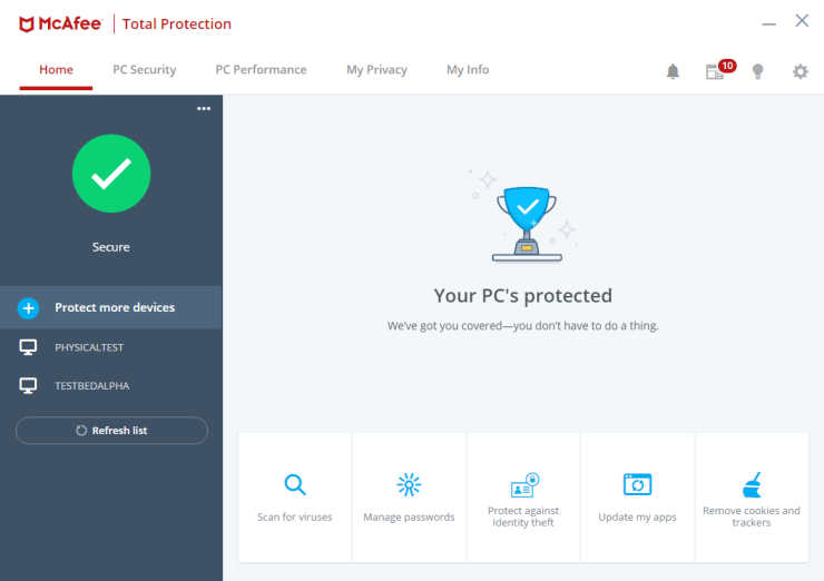 McAfee Total Protection windows