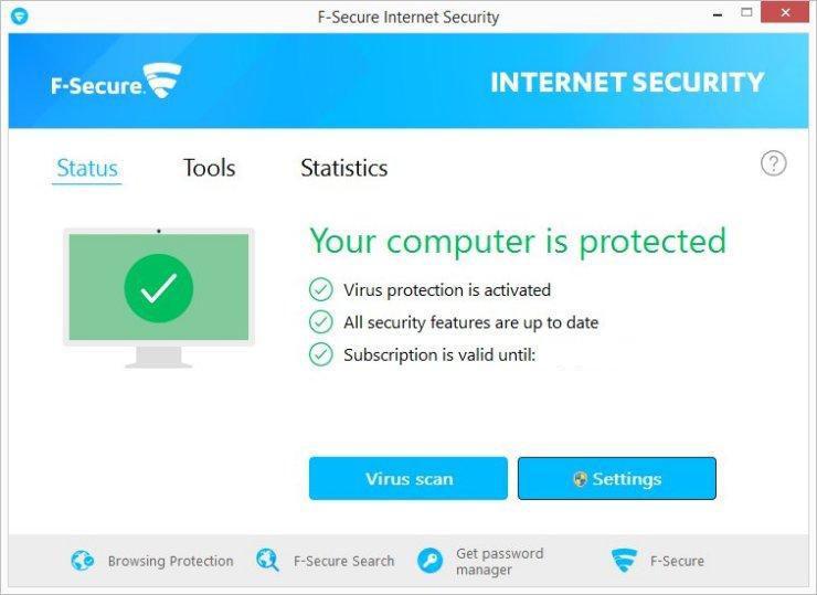 F-Secure Internet Security windows
