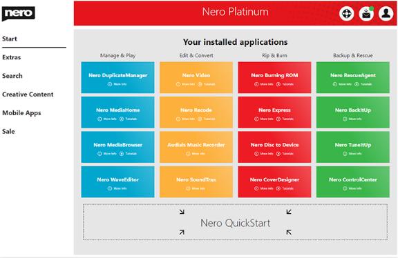 Nero Platinum Suite windows