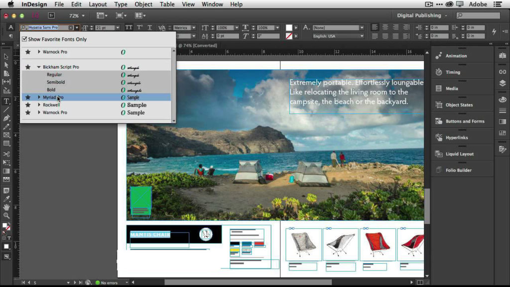 Adobe InDesign CC windows