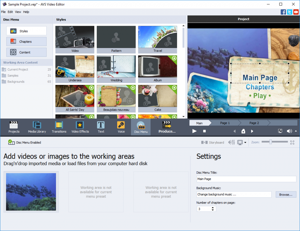 AVS Video Editor windows