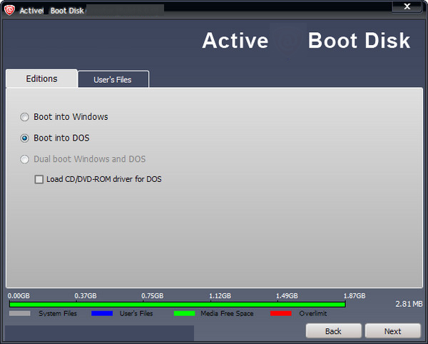 Active Boot Disk Suite windows