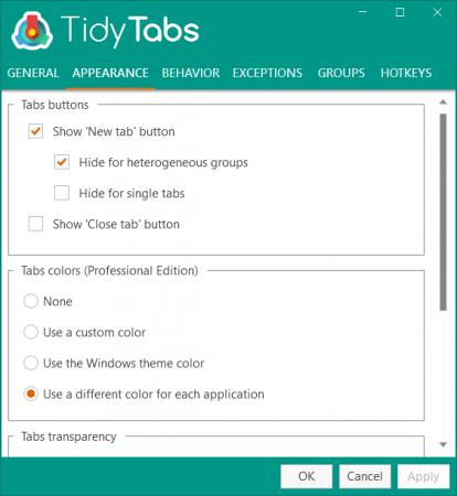 TidyTabs Professional windows